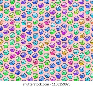 Colorfull cube gems seamless pattern