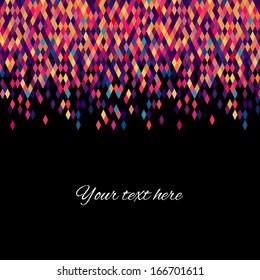 Colorfull diamond tiles vector card.