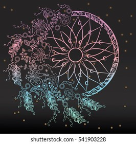 Colorfull dreamcatcher with feathers on the stars background. Boho chic style. Hand drawn. Vector illustration.
