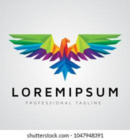Colorfull Polygonal Eagle Logo design template