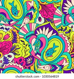 Colorfull psychedelic seamless pattern. Underwater, floral, doodle vector illustration.