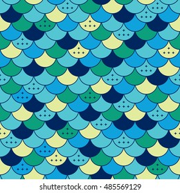 Colorfull semicircles abstract seamless pattern. Tile or fish scale