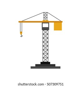 colorfull silhouette construction tower crane