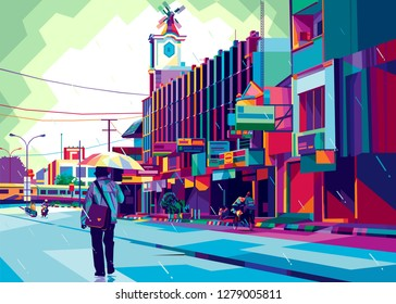 colorfull town, colorfull city, pop art town vector illustration