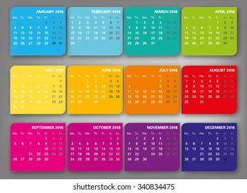 Colorfull vector 2016 calendar