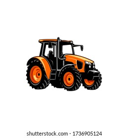 colorfull yellow tractor vector art