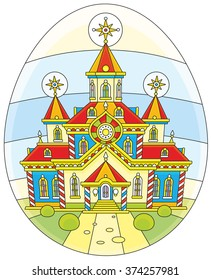 Colorfully decorated church drawn on an Easter egg