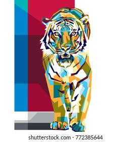 Colorfully Tiger. Tiger Logo. Creative Artwork