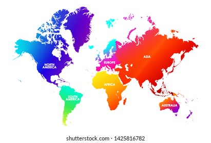 Colorfulness saturation world map, each continent in different trendy bright gradient colors and name