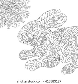 Coloring for adult anti-stress / Hare, rabbit/ zentangle style