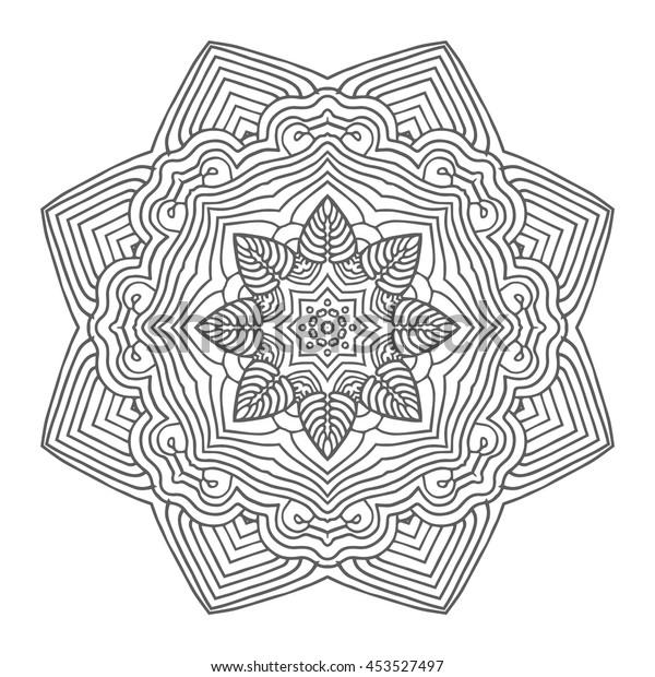Coloring Adult Antistress Mandala Circular Pattern Stock ...