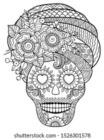 Coloring for adult for Day of the Dead. Mexican festival. Black and white coloring pages with skull and flowers