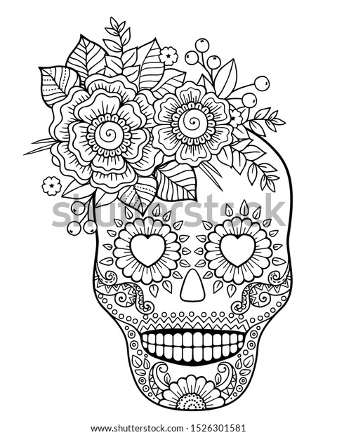 - Coloring Adult Day Dead Mexican Festival Stock Vector (Royalty Free)  1526301581