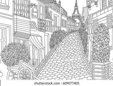 Paris Colouring Pages High Res Stock Images Shutterstock