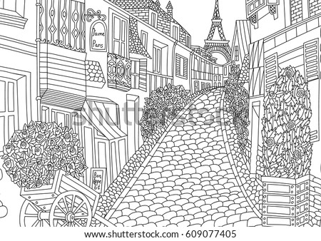 europe landmarks coloring pages | Coloring Adult Paris France Coloring Page Stock Vector ...
