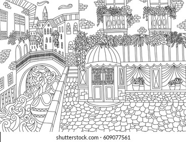 Coloring for adult with Venice. Italy. Coloring page in line style. European landscapes. Europe collection. Vector illustration