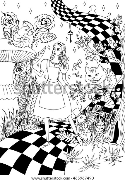 Coloring Adults Alice Wonderland Stock Vector (Royalty Free) 465967490
