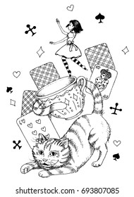 coloring for adults. Alice in wonderland with  Chesire cat