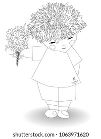 Coloring for adults and children. Boy with a bouquet of flowers