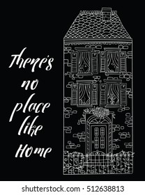 Coloring for adults / home sweet home / anti-stress / zentangle style / Cards / Christmas / Poster / Book/ house/ There's no place like home/ Lettering