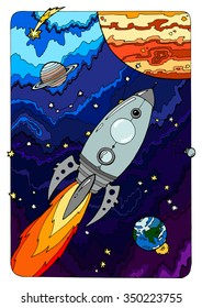 coloring for adults; space theme; planets and space ship