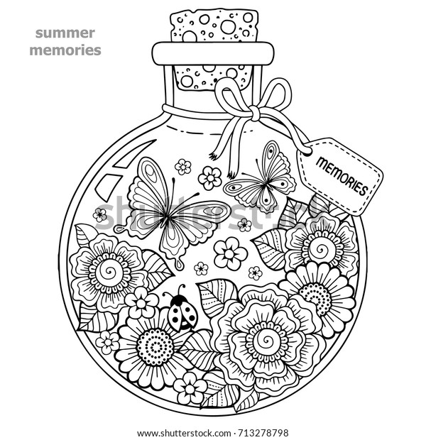 Coloring Adults Vector Coloring Book Adults Stock Vector ...