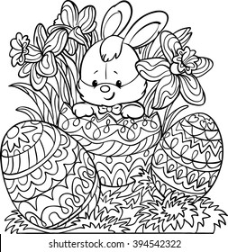 Coloring for adults.Happy Easter. Cute Easter bunny, decorated Easter Egg. Cartoon Vector Illustration. Isolated on white background