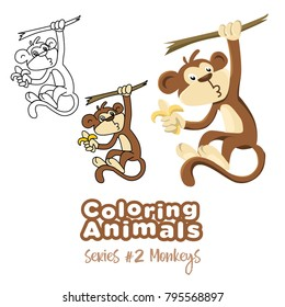 Coloring animals monkey vector cartoon for kids