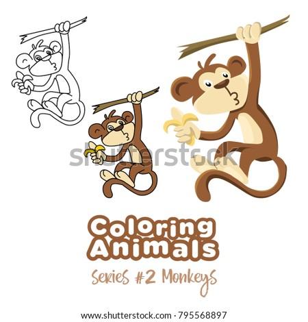 Coloring Animals Monkey Vector Cartoon Kids Stock Vector Royalty