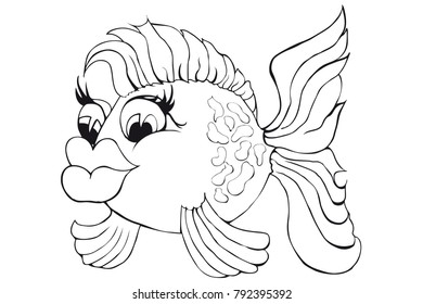 Coloring beautiful fish. Isolated image on white background. Cartoon style.