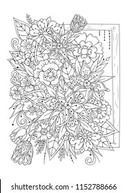 Coloring book for adult and older children. Black and white abstract floral pattern. Vector illustration. Design for meditation. The image can be used in design and printing on fabric