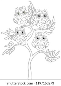 royalty free pencil drawing owl stock images photos vectors  coloring book for adult and older children coloring page with cute owl and floral frame