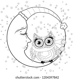 royalty free owl silhouette images stock photos vectors  coloring book for adult and older children coloring page with an owl on the moon