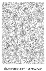 Coloring book for adult and older children. Coloring page with flowers pattern frame.