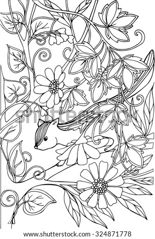 Coloring Book For Adult And Older Children Page With Lovely Chipmunk In The Garden
