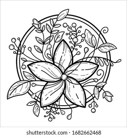 Coloring book for adult page with floral tune. Circle frame with black and white 5 petal flower, leafs, burgeons, berries. Vector art for textile, wrapping paper, antistress coloring book design.