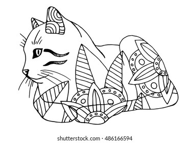 Coloring book for adults, cat