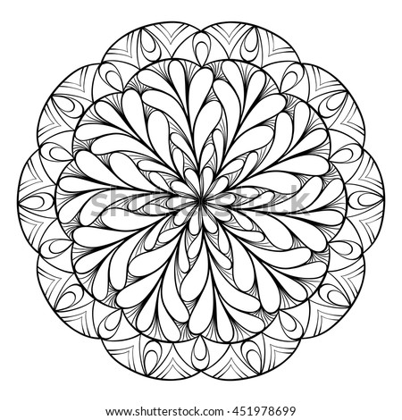 Coloring Book Adults Children Round Floral Stock Vector Royalty