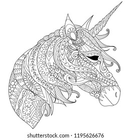 Coloring Book for adults. Colouring pictures with fairytale magic unicorn, also can be used for printing on product. Vector illustration