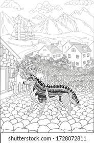 Coloring book for adults with a dog stading in the cute village and beautiful castle in the background