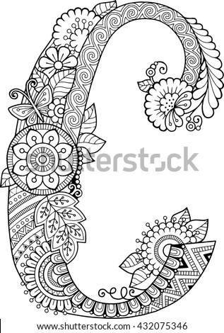 Coloring Book Adults Floral Doodle Letter Stock Vektorgrafik