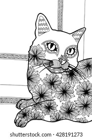 Coloring book for adults, flower cat