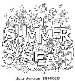 Coloring book for adults for meditation and relax. Summer sea. Tropical fish, nemo fish, jellyfish, corals and seashells.