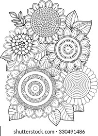 Coloring book adults meditation and relax. T-shirt graphic design. Print for summer Clothing. Isolated vector sunflower pattern