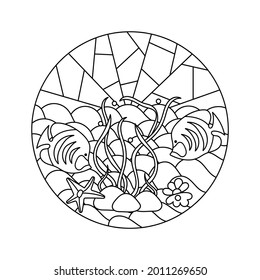 Coloring book for adults and older children , Underwater. Marine vector motif . Doodles of the underwater world, sea, ocean, river . Fish, shells and seastar, seaweed. Aquariums. Mosaic background