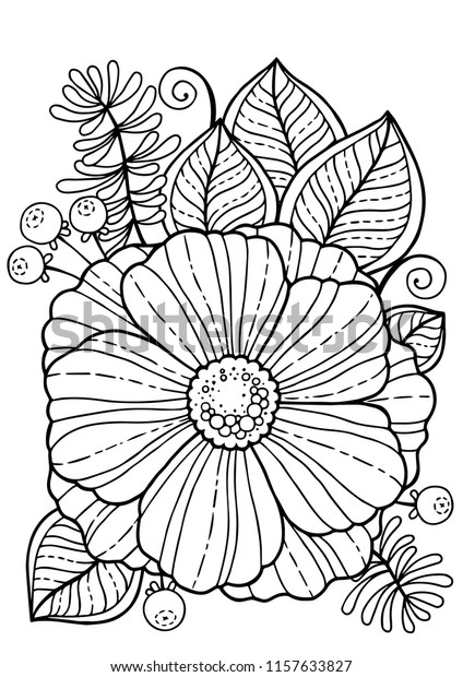 Coloring Book Adults Summer Flowers Vector Stock Vector Royalty Free 1157633827