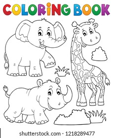 Coloring book African nature theme set 2 - eps10 vector illustration.