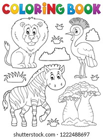 Coloring book African nature theme set 3 - eps10 vector illustration.