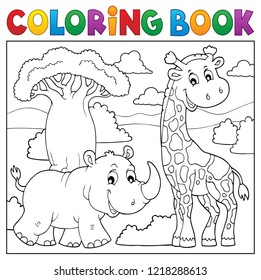 Coloring book African nature topic 2 - eps10 vector illustration.