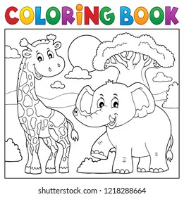 Coloring book African nature topic 1 - eps10 vector illustration.